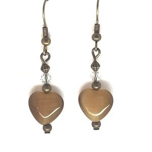 Brown Cats Eye Hearts~Antique Bronze~Crystal